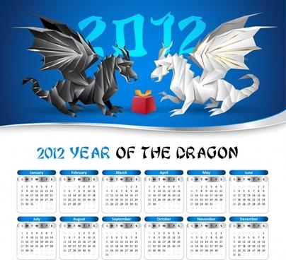 2012 calendar calendar calendar vector pterosaur