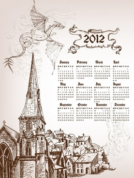 2012 calendar calendar cartoon dragon vector