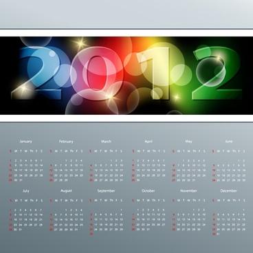 2012 calendar template modern sparkling numbers decor