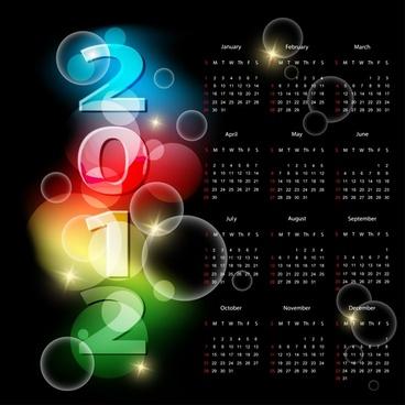 2012 calendar template dark sparkling bubbles decor