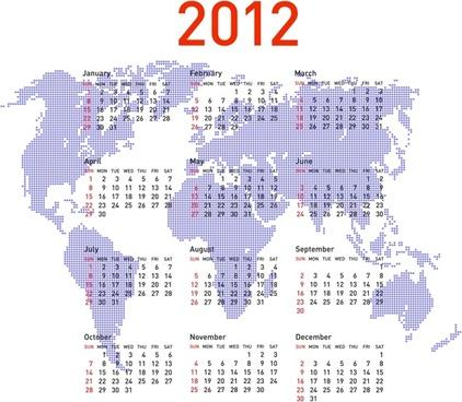 2012 calendar template bright flat world map sketch