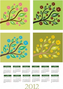 2012 calendar vector cartoon tree