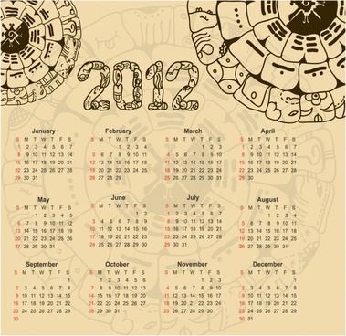 2012 calendar vector illustration calendar