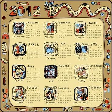 2012 calendar year of the dragon vector 2