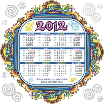 2012 cartoon calendar 02 vector