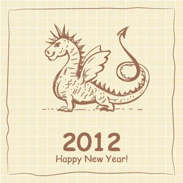 2012 cartoon dragon cards 01 vector