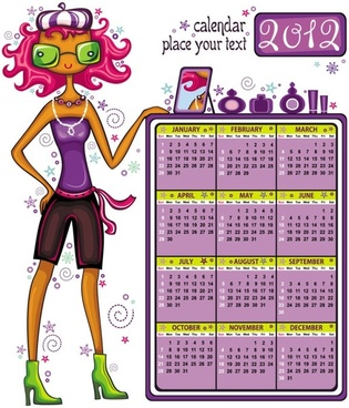 2012 cartoon girls calendar vector