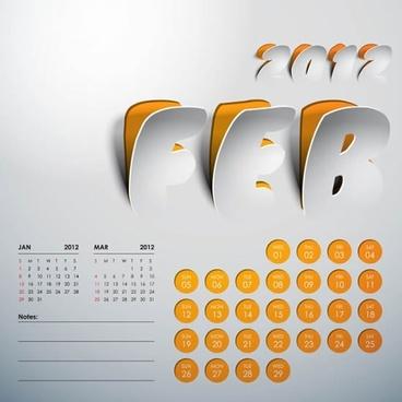 2012 creative arts calendar tear marks vector