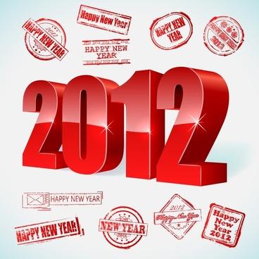 2012 creative font vector