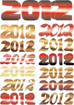 2012 creative fonts dimensional vector