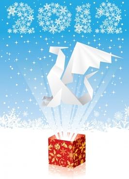 2012 origami paper cranes vector cartoon