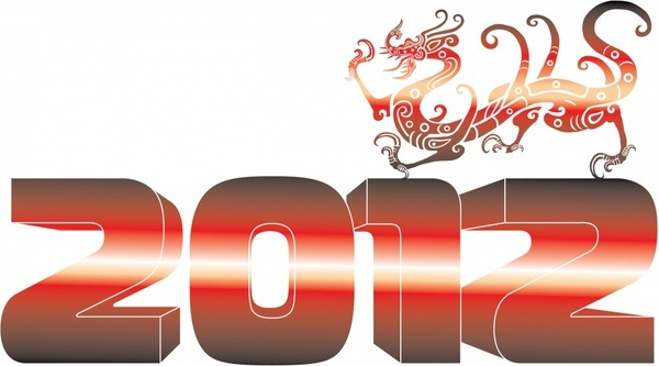 2012 threedimensional creative font dragon vector