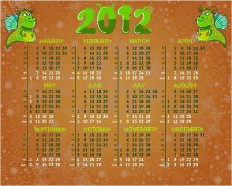 2012 vector calendar calendar