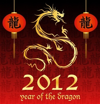2012 year of the dragon 03 vector