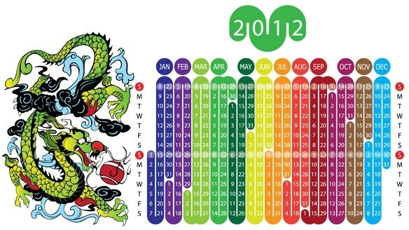 2012 year of the dragon calendar 1 vector