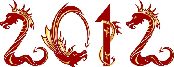 2012 year of the dragon creative font vector