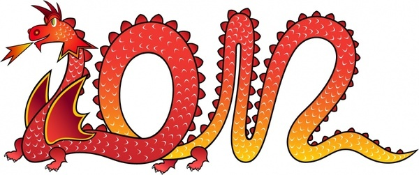 2012 year of the dragon dragonshaped creative font vector