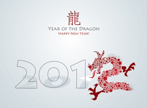 2012 year of the dragon greeting card vector
