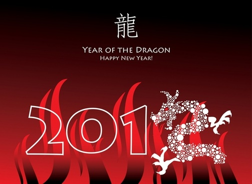 2012 year of the dragon happy new year greeting card vector
