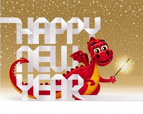2012 year of the dragon vector