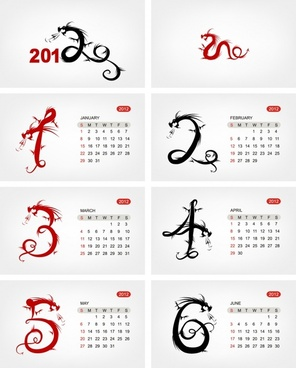 2012 year of the dragon vector calendar desk calendar
