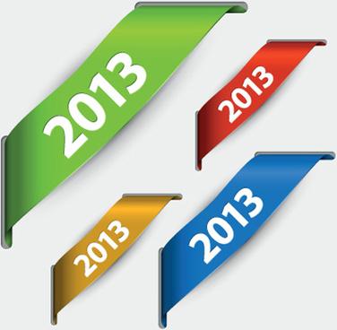 2013 corner ribbons design elements vector