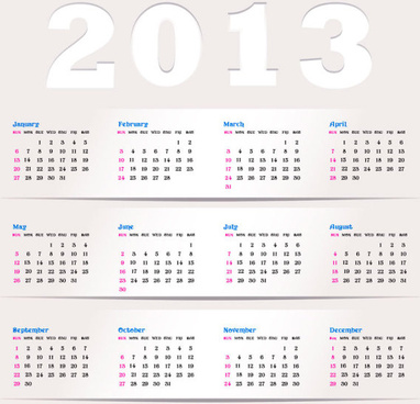 2013 creative calendar collection design vector