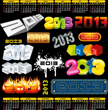 2013 design elements and13 calendar vector