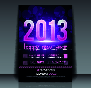 2013 happy new year flyer cover vector set
