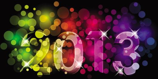 2013 year font design elements vector
