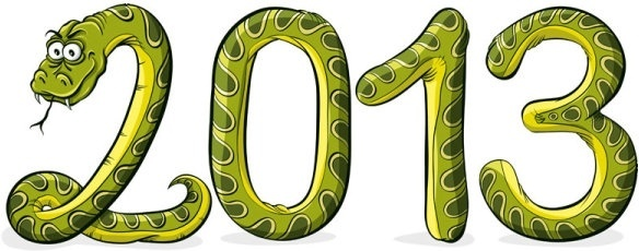2013 year of the snake cartoon background vector