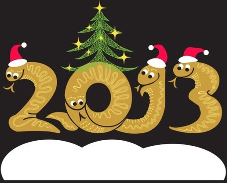 2013 year of the snake christmas cartoon background 01 vector