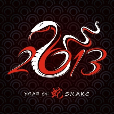 2013 year of the snake design 01 vector