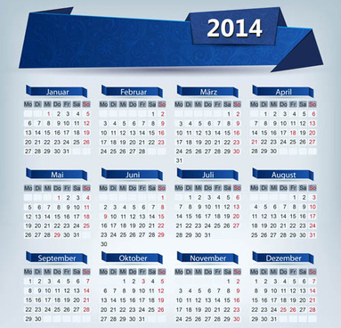 2014 calendar grid vector design