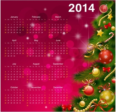 2014 calendar happy new year