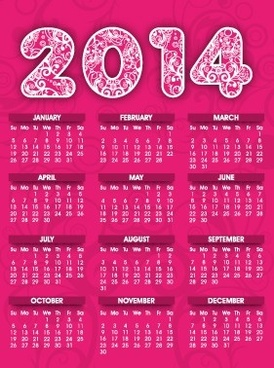 2014 calendar pink style design vector