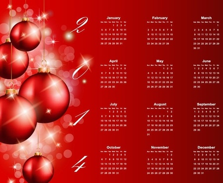 2014 calendar with ball ornament red background vector graphic