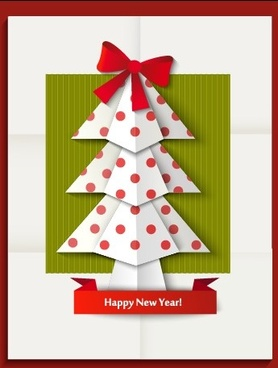 2014 christmas and new year origami greeting card vector