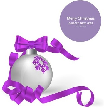 2014 christmas balls with ribbon background vector