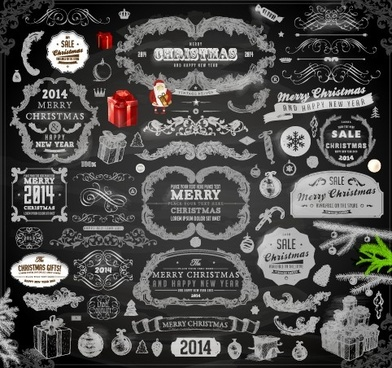 2014 christmas black decoration and labels vector