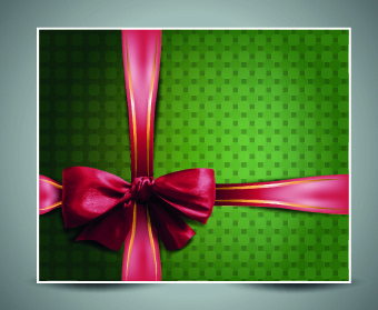 2014 christmas bow greeting card vector set