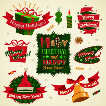 2014 christmas cute ornaments elements vector