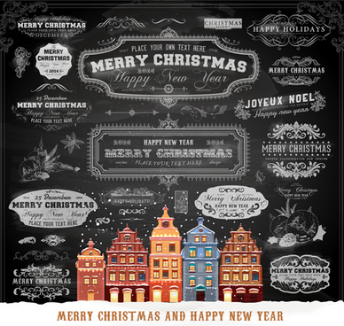 2014 christmas dark labels with ornaments vector set