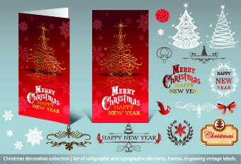 2014 christmas decoration calligraphic with typographic vector