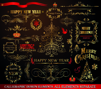 2014 christmas gold calligraphic decoration elements vector