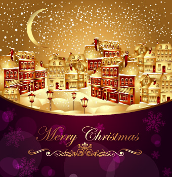 2014 christmas golden city background vector
