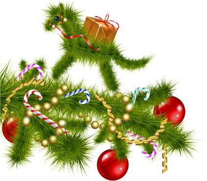2014 christmas horse design elements vector