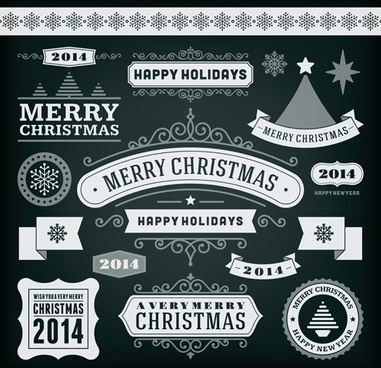 2014 christmas labels and borders with ribbon vector