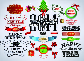 2014 christmas labels and decoration creative vector