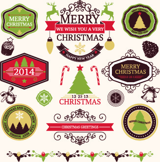2014 christmas lables ribbon and baubles ornaments vector
